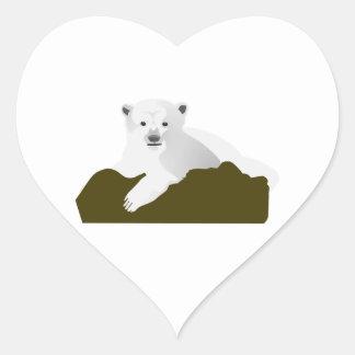 Cute Polar Bear Cub on a Log Heart Sticker