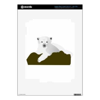 Cute Polar Bear Cub on a Log iPad 3 Decals