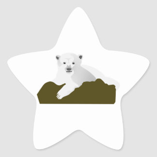 Cute Polar Bear Cub on a Log Star Sticker