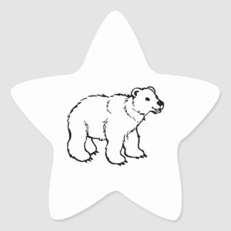 Cute Polar Bear Cub Star Sticker