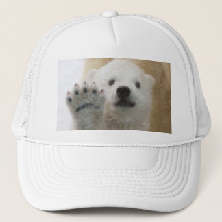 Cute Polar Bear Cub Waving Trucker Hat
