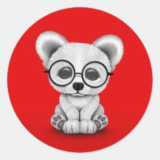 Cute Polar Bear Cub with Eye Glasses on Red Classic Round Sticker
