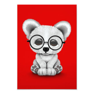 Cute Polar Bear Cub with Eye Glasses on Red 3.5x5 Paper Invitation Card