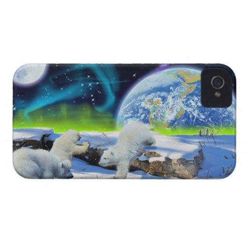 Cute Polar Bear Cubs & Aurora iPhone 4 Case