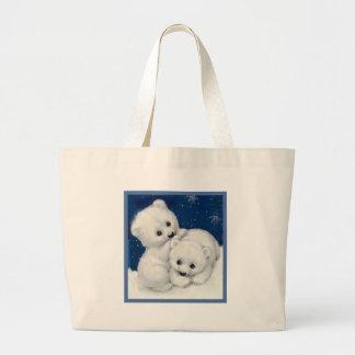 Cute Polar Bear Cubs Large Tote Bag