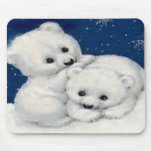 Cute Polar Bear Cubs Mouse Mat