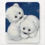 Cute Polar Bear Cubs Mouse Pad