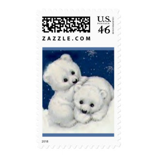 Cute Polar Bear Cubs Postage Stamps