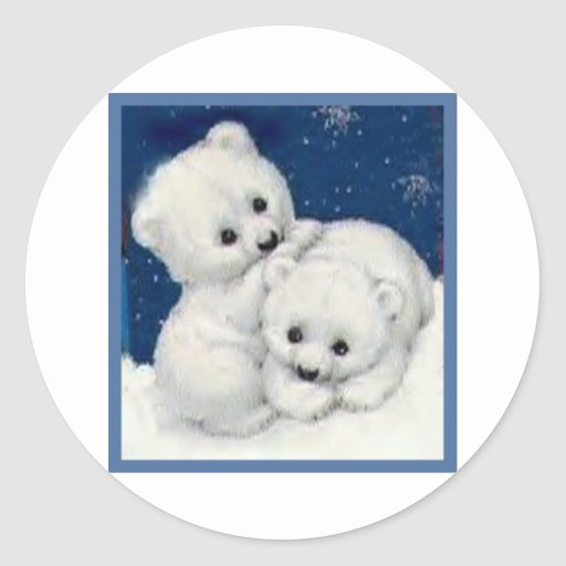Cute Polar Bear Cubs Round Stickers