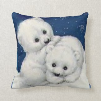 Cute Polar Bear Cubs Throw Pillow