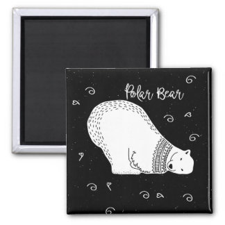 Cute Polar Bear Design in Black and White Magnet