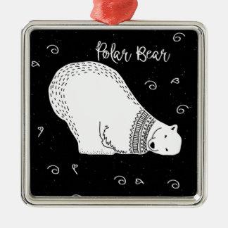 Cute Polar Bear Design in Black and White Metal Ornament