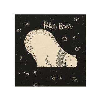 Cute Polar Bear Design in Black and White Wood Wall Decor