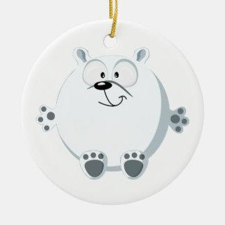 Cute polar bear Double-Sided ceramic round christmas ornament