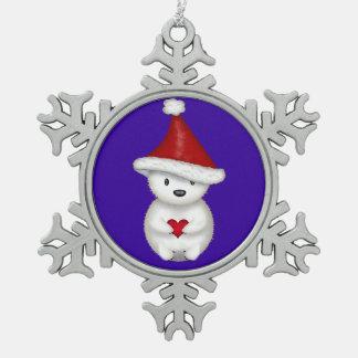 Cute Polar Bear Holding Heart Snowflake Pewter Christmas Ornament