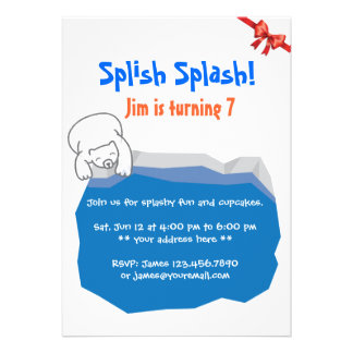 Cute Polar Bear & Ice Pool Birthday Invitation