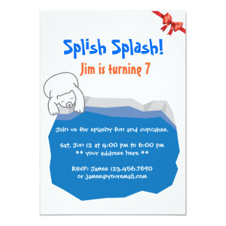 Cute Polar Bear & Ice Pool Birthday Invitation