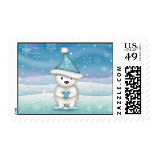 Cute Polar Bear in Snow Postage Stamps