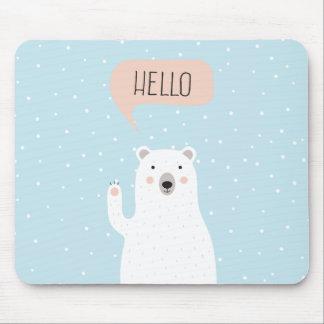 Cute Polar Bear in the Snow says Hello Mouse Pad