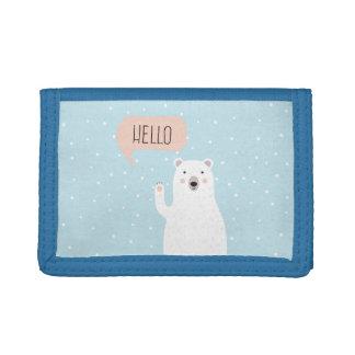Cute Polar Bear in the Snow says Hello Tri-fold Wallet