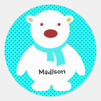 Cute Polar Bear on Aqua, Add Name Classic Round Sticker