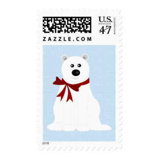 Cute Polar Bear on Ice Blue Holiday Postage Stamp