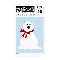 Cute Polar Bear on Ice Blue Holiday Postage Stamp