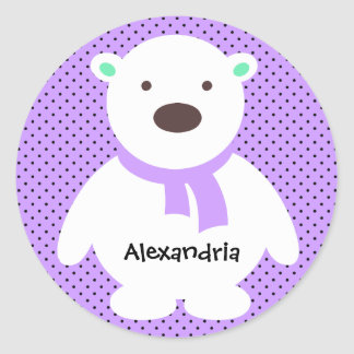Cute Polar Bear on Lilac, Add Name Classic Round Sticker
