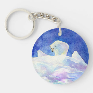 Cute Polar Bear on Snow Single-Sided Round Acrylic Keychain