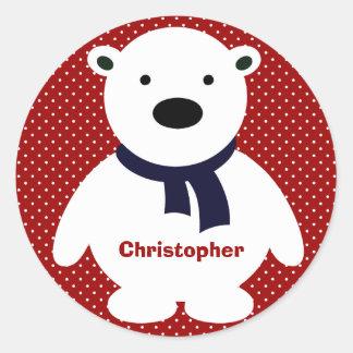 Cute Polar Bear, RW&B, Add Name Classic Round Sticker