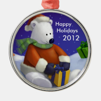 Cute Polar Bear Santa Round Christmas Ornament