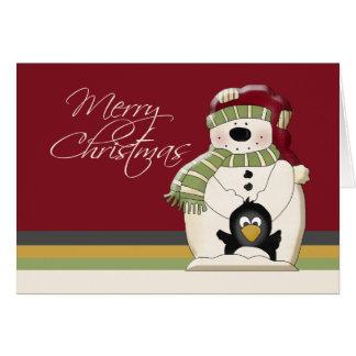 Cute Polar Bear Snowman and Penguins Christmas Card