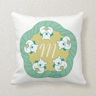 Cute Polar Bear Tea Break Monogram Throw Pillow