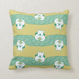 Cute Polar Bear Tea Break Pattern Throw Pillow