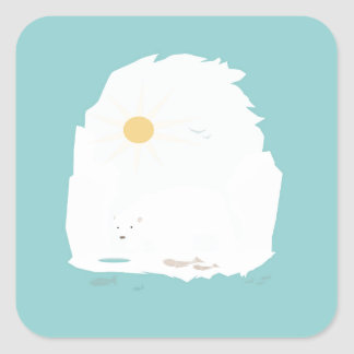 Cute Polar Bear try to get some fish and sun Square Sticker