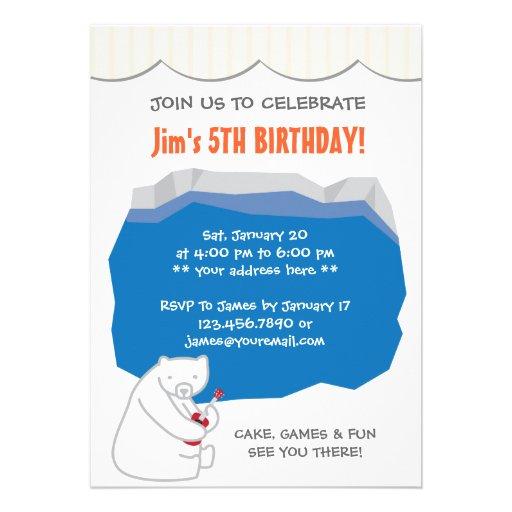 Cute Polar Bear Ukulele Birthday Party Invitation (front side)