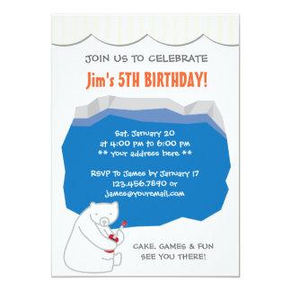 Cute Polar Bear Ukulele Birthday Party Invitation