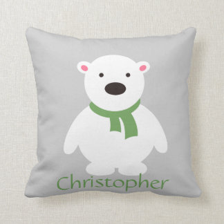 Cute Polar Bear w Green Scarf, Add Name Throw Pillow