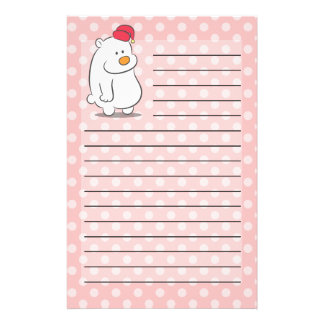 Cute polar bear with polka dots pattern background stationery