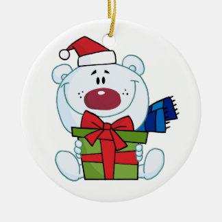Cute polar bear with present christmas ornament