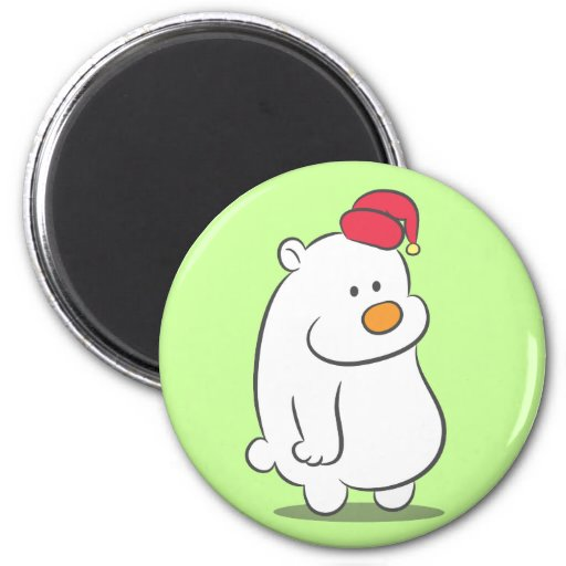 Cute Polar Bear with Red Christmas Cap 2 Inch Round Magnet