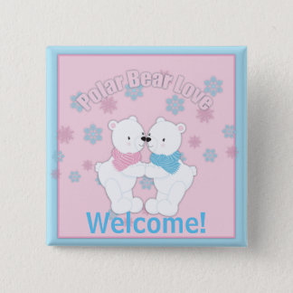 Cute Polar Bears and Snowflakes Personalized Button