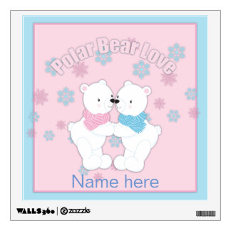 Cute Polar Bears and Snowflakes Personalized Wall Decal
