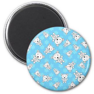 Cute polar bears blue snowflakes 2 inch round magnet