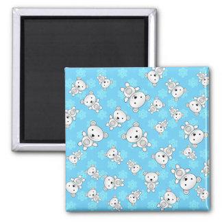 Cute polar bears blue snowflakes 2 inch square magnet