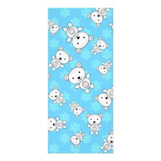Cute polar bears blue snowflakes custom rack card