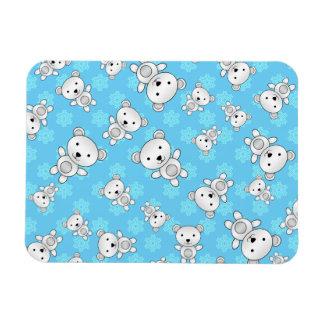 Cute polar bears blue snowflakes rectangular photo magnet