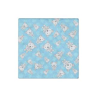 Cute polar bears blue snowflakes stone magnet
