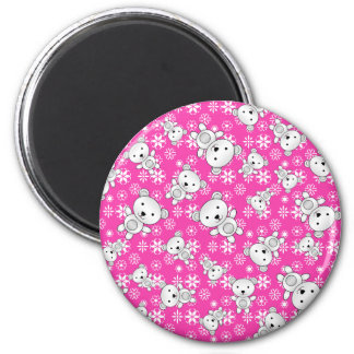 Cute polar bears christmas pink snowflakes 2 inch round magnet