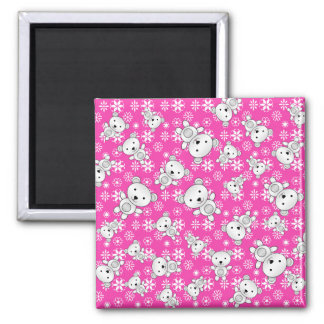 Cute polar bears christmas pink snowflakes 2 inch square magnet